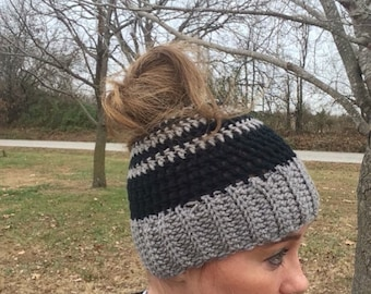 Messy bun hat, pony tail hat/beanie crochet hat with hole, any size and any color