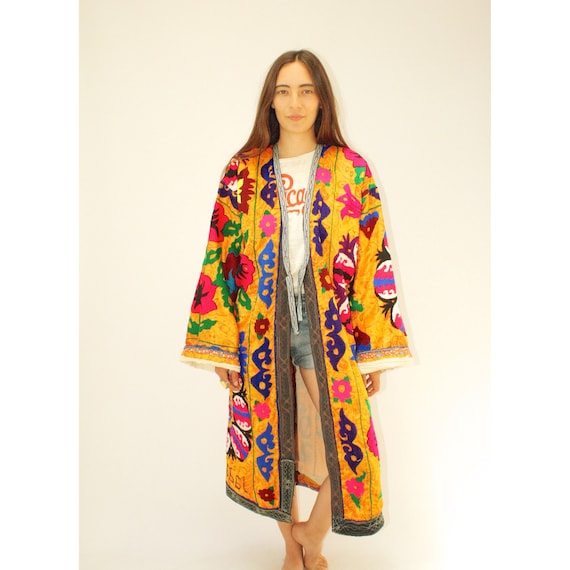 Saffron Suzani Duster // Vintage 70s Dress Festival Kimono Boho Hippie Hand 1970s Embroidered Blouse Tunic Floral Jacket Gold Yellow // O/S by Etsy