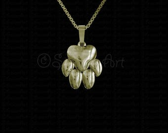Paw print - gold pendant and necklace
