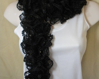 Black Ruffled Lacy Flamenco Knit  Fashion Scarf