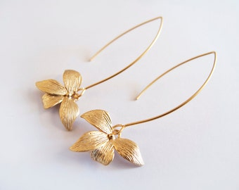 Gold Dangle Orchid Earrings - Gift for Her - Bridesmaid Gift