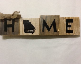 Reclaimed Home with Your State and City plaque