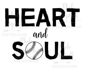 Heart and Soul baseball-Instant Digital Download