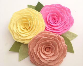 LARGE ROSES // Loose Felt Flowers // Unattached Flowers // DIY Flowers // Flower Embellishments // Set of 3 // You Pick Custom Colors