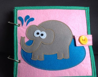 Book learning Elephant for children from 3 years of felt.