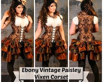 Waist 35-37 Ebony Vintage Paisley Vixen Corset