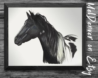 Print - hand drawn, ink on paper - fine art.  Large wall art horse handmade. Farmhouse, farm decor, nursery, gift for the horse lover!