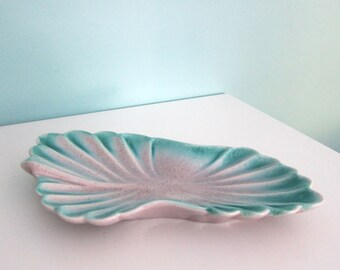 Teal Mid Century Centerpiece, Turquoise Decorative Bowl, Teal Decorative Bowl, Catch All, 1950s Vanity Bowl, Mauve & Teal