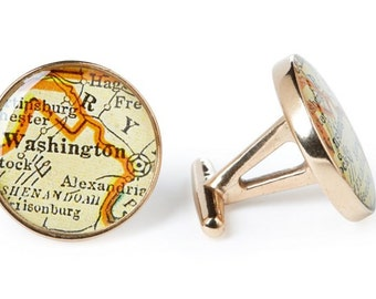Washington DC Map Cufflinks Solid Golden Bronze Heirloom Cast One Piece Antique District of Columbia Atlas Gift for Senator or Boss