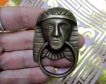 Egyptian Pharaoh Brass Ring Drop Handle Drawer Pull