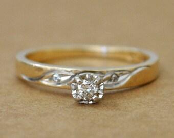 vintage find 14k petite pinky ring, 14k yellow gold, vintage 14k gold diamond ring, engagement ring, stack ring