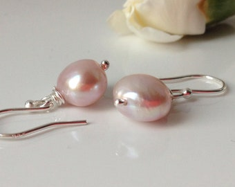 Large Pink Freshwater Pearls, Bridesmaid Earrings, Bridal Earrings.