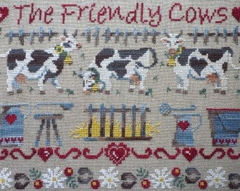 The Friendly Cows– a lovely counted cross stitch chart. Chart and key in English or French.  8 colours of DMC or Gentle Art Threads