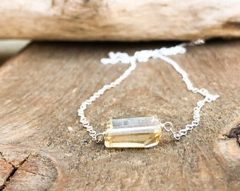 Silver or Gold November Birthstone Necklace - Scorpio Gift for Her - Raw Citrine Necklace - Raw Citrine Pendant - Raw Crystal Necklace