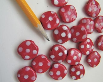 "Kazuri ""Pebbles"" Beads - Twelve  (12) Red White Dotted"