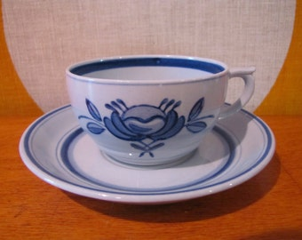 Arabia Finland Cup and Saucer, Blue Rose, Tea Cup and Saucer, Handpainted, Mid Century Arabia Finland