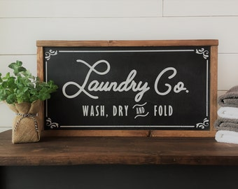 "Laundry Co. Sign | Fixer Upper Joanna Gaines Inspired | Farmhouse Style Framed Wood Sign | 12""x22"""