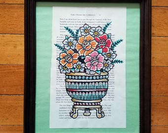 Traditional Flower Vase - Tattoo Flash Style
