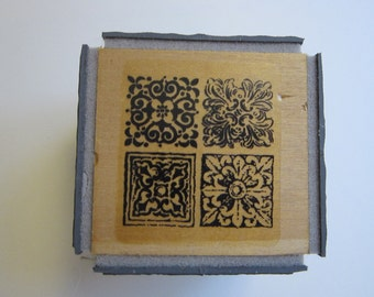 large rubber stamp cube (4-sided cube) - Stampendous Tiled Quad cube - TC54 - circa 2002