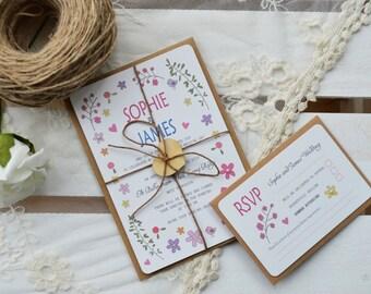 Ditsy Daisy Wedding Invitation Bundle with RSVP - SAMPLE