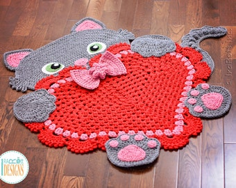 CROCHET PATTERN Sassy the Kitty Cat Heart Rug PDF Crochet Pattern with Instant Download