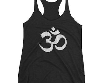 Om, Ohm, Aum Symbol Tanktop - Yoga Chick - Spiritual Design Women's Racerback Tank