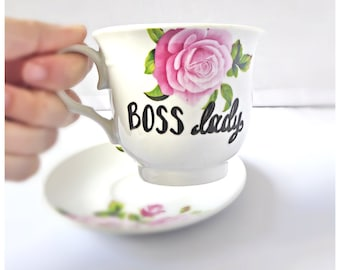 Boss Lady, Funny Coffee Cup and Saucer, bridesmaid gift, tea cup, funny mothers day gift, floral mug, class of 2018, inspirational mug