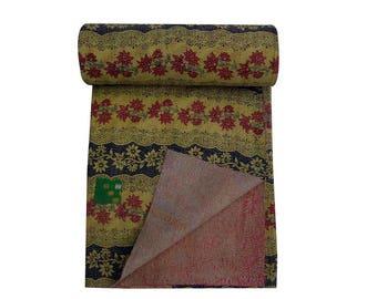 Vintage Kantha Blanket , Handmade Sari Kantha Quilt, Sari Kantha Throw
