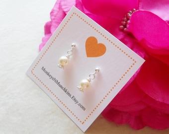 Classic Pearl Dangle Earrings Flower Girl Junior Bridesmaid E030