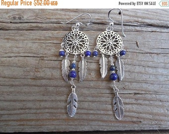 ON SALE Dream catcher earrings handmade in sterling silver with lapis beads
