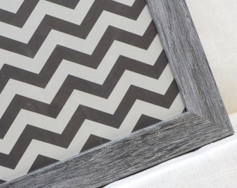 Magnet Board - Magnetic Memo Board - Dry Erase Board - Wall Decor - Housewares - Framed Memo Board - Grey Chevron Design - includes magnets