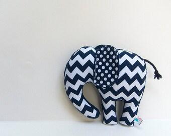 Navy Blue Chevron Polka Dot Stuffed Elephant Softie Plush Animal
