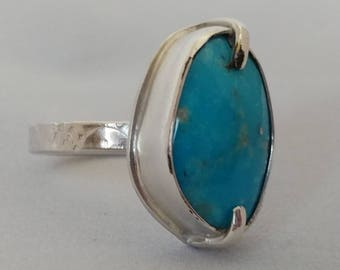 Turquoise Sterling Silver Handstamped Ring size 7 1/2