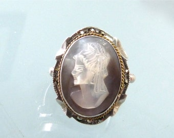 Victorian Cameo Ring Abalone Shell Marcasite 900 Sterling Silver Gold rope Cameo Ring Size 6