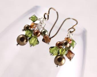 Green Brown Swarovski Cluster Earrings, Forest Olive Copper