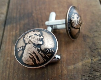 82nd Birthday 1936 Penny Cuff Links 82nd Anniversary Fathers Day Gift 82nd Birthday Gift Coin Jewelry Gift for Men