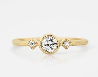 Unique diamond engagement ring, 4mm conflict free diamond, 14k yellow gold, rose gold, white gold, platinum, 0.25~0.3ct diamond wedding ring