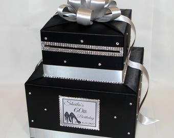 Black and Silver Card Box with Rhinestone accents