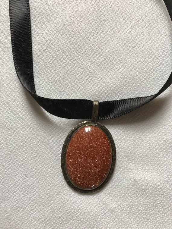 Mid Century Copper Goldstone Oval Pendant Necklace