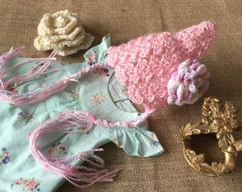 Baby girl pixie bonnet newborn photo props