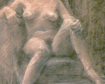 original chacoal  figure drawing seated woman