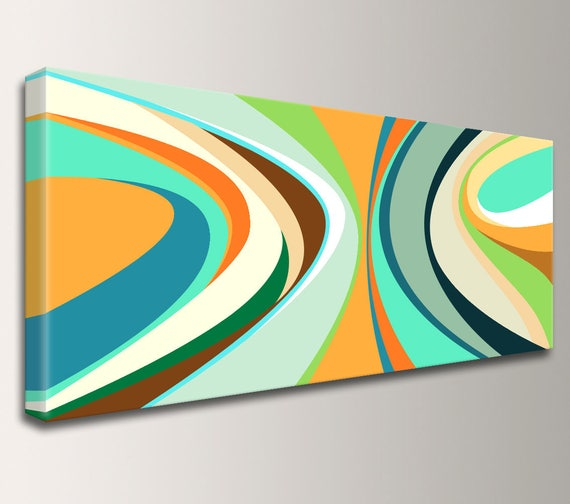 "Mid Century Modern, Tropical, Beach Decor, Art, Modern Art - Panoramic Art, Loft Art, Canvas Print, Gallery Wrap, Teal, Orange - ""Tropicana"""