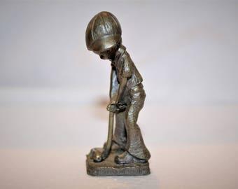Vintage Pewter Miniature Boy Golfer