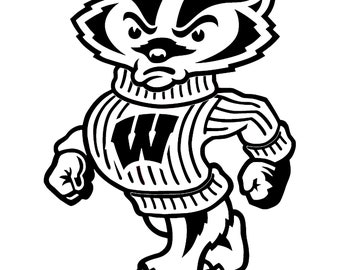 Bucky coloring pages ~ Wisconsin sticker | Etsy