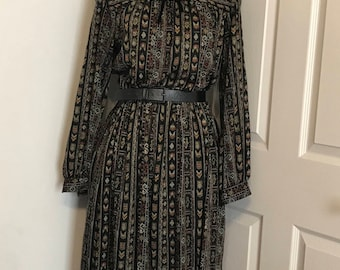 Vintage 70s Ronnie Heller for MJ tribal print long sleeved dress, size medium/large