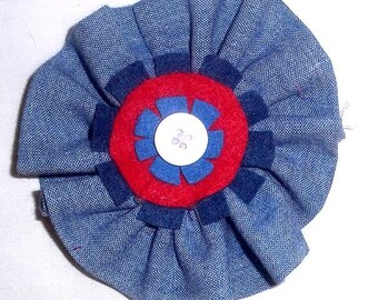 Fabric Flower Brooch or Pin in Chambray, with Blue and White Felt Accents - F4
