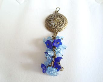 Large pendant, glass flower cluster, blue