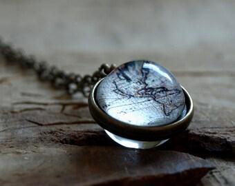 Nacre globe necklace nacre world map necklace mother of world map necklace vintage world map globe necklace antique world map pendantglobe gumiabroncs Images