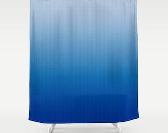 Blue Ombre Shower Curtain Light Blue to Blue Design Pattern Home Bathroom Apartment Decor