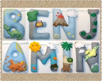 Dinosaur Theme Name Birthday Banner, Boy or Girl, Personalized Felt Name Garland/Bunting, Birthday Party Room Wall Decoration
